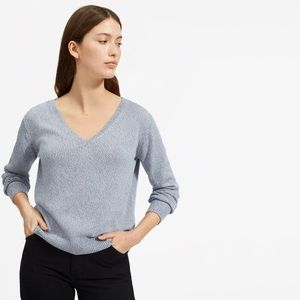 EVERLANE The Soft Cotton V-Neck Sweater Baby Blue